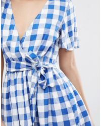 ASOS - Blue Beach Wrap Dress In Gingham - Lyst