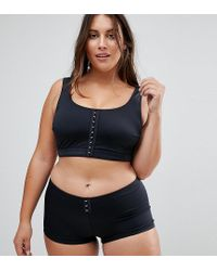 ASOS - Black Asos Design Curve Mix And Match Crop Bikini Top With Hook And Eye - Lyst