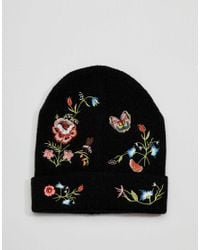 ASOS - Black Embroidery Beanie - Lyst