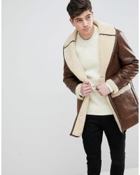 Mango - Brown Man Borg Lined Aviator Coat In Chocolate for Men - Lyst