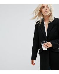 ASOS - Black Slim Boyfriend Coat With Zip Pocket - Lyst