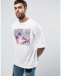ASOS - White Oversized T-shirt With Palm Print for Men - Lyst
