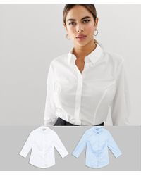 e8b1fd512df Women s White Fuller Bust 3 4 Sleeve Shirt In Stretch Cotton 2 Pack Save 12%