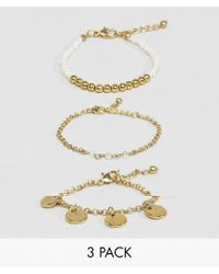 ASOS - Metallic Pack Of 3 Bead And Disc Bracelets - Lyst