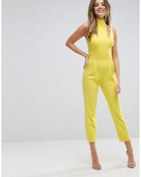 ASOS - Yellow Jumpsuit With Cut Out Detail And High Neck - Lyst