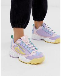 Fila Cuero Zapatillas en rosa, lila y amarillo con