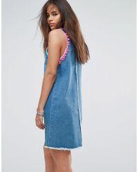 Jaded London - Blue Denim Mini Dress With Pom Pom Trip Detail - Lyst