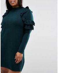 ASOS - Green Jumper Dress With Ruffle Shoulder - Lyst