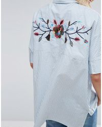 Mango - Blue Embroidered Back And Stripe Detail Shirt - Lyst