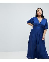 d38f335639b ASOS Asos Design Curve Kimono Pleated Maxi Dress in Blue - Lyst