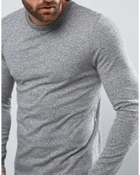 ASOS - Gray Long Sleeve T-shirt In Heavyweight Twisted Jersey With Curve Hem for Men - Lyst