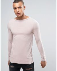ASOS | Long Sleeve Extreme Muscle T-shirt With Boat Neck In Pink for Men | Lyst