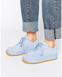 5f2049ec78d Nike Air Force 1 Upstep Premium Trainers In Blue Suede in Blue - Lyst