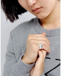 Cheap Monday - Metallic Heart Signet Ring - Lyst