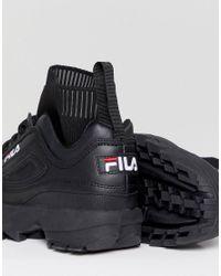 Fila Disruptor Sock Trainers In Triple Black