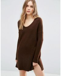 ASOS | Brown Sweater Dress In Soft Yarn With Deep V | Lyst
