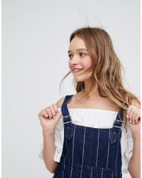 Monki - Blue Denim A Line Pinafore Dress - Lyst