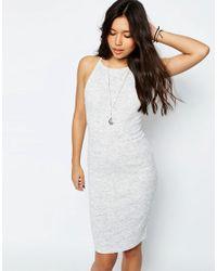 ASOS - Gray Rib Slip Dress With Cross Back - Lyst