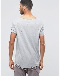 ASOS - Gray Super Longline T-shirt With Triangle Print And Heavy Distressed Hem And Sleeve for Men - Lyst