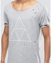 ASOS | Gray Super Longline T-shirt With Triangle Print And Heavy Distressed Hem And Sleeve for Men | Lyst