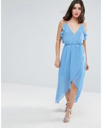 True Decadence - Blue Wrap Cami Dress With Ruffles - Lyst