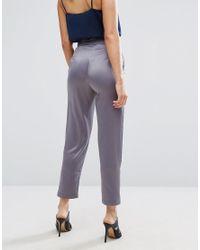 ASOS - Gray Satin Peg Pants With Split Hem And Belt - Lyst