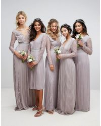 TFNC London | Gray Wedding Pleated Maxi Dress With Long Sleeves And Lace Inserts With Embellished Waist | Lyst