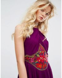 Free People - Purple Marcella Embroidered Mini Dress - Lyst
