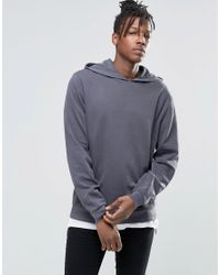 ASOS Gray Hoodie With Reverse Loopback Panels for men