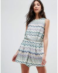 Traffic People - Blue Swirl Print Dress With Tie Back - Lyst