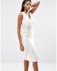 Lavish Alice - White Rib Knit Tie Wrap Front Open Ring Detail Midi Dress - Lyst
