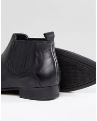 H by Hudson - Zelus Leather Chelsea Boots In Black for Men - Lyst