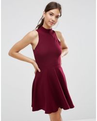 Daisy Street - Red Skater Dress With Contrast Detail - Burgundy - Lyst