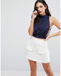 Love | Blue High Neck Lace Top | Lyst