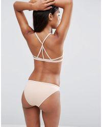 ASOS - Pink Neoprene Fishnet Strappy Triangle Bikini Top - Lyst