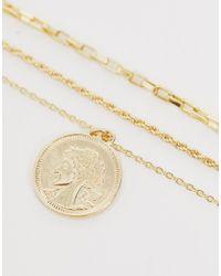 Pieces Metallic Multi Row Coin Necklace