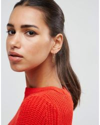 ASOS - Metallic Gold Plated Sterling Silver Mismatch Oval And Chain Drop Hoop Earrings - Lyst