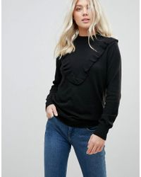 B.Young - Gray Frill Front Sweater - Lyst