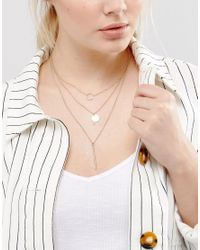 Pieces - Metallic Multipack Pendant Necklace - Lyst