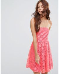 Zibi London | Red Lace Bandeau Skater Dress | Lyst
