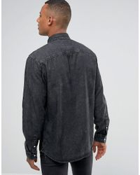 Jack & Jones - Intelligence Relaxed Fit Denim Shirt In Washed Black for Men - Lyst