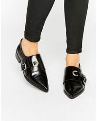 ASOS | Black Madame Leather Flat Shoes | Lyst