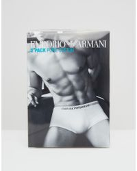 Emporio Armani - Blue Cotton Trunks In 2 Pack for Men - Lyst