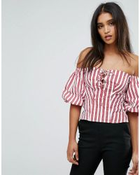 Mango - Red Tie Front And Stripe Top - Lyst