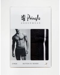 Pringle of Scotland - Button Fly Boxer Trunks In 2 Pack Black for Men - Lyst
