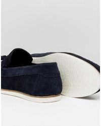 ASOS - Blue Tassel Loafers In Navy Suede for Men - Lyst