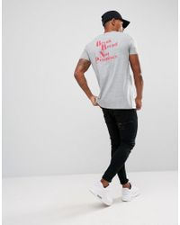 ASOS   Gray Longline T-shirt With Slogan Text Print for Men   Lyst