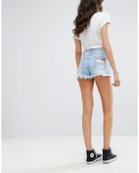 Missguided - Blue Badge Detail Denim Shorts - Lyst