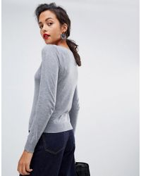 Mango - Gray Fine Gauge Knitted Jumper Top - Lyst