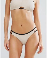 RVCA | Natural Ribbed Cut Out Bikini Bottom | Lyst